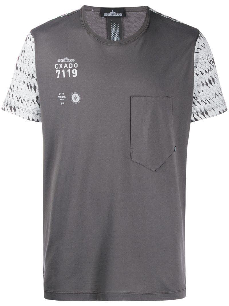 T Shirt In Colour Block Optik In Gray Stone Island Shadow Project Stone Island Long Sleeve Tshirt Men