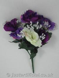 Artificial Anemone Bouquet - Image Caption: Artificial Anemone Bouquet - 35cm Purple/Cream