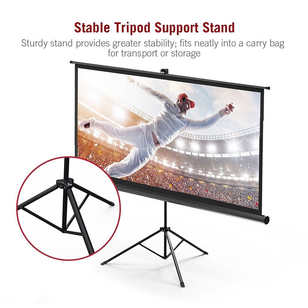 100 16 9 Premium Pvc Matte Projector Screen With Stand Fast Setup 160 Viewing Taotronics