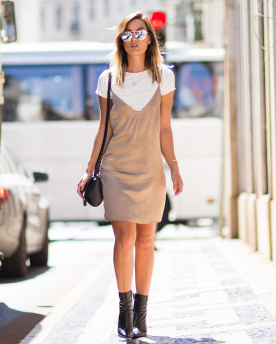 Wearing The Slip Dress Trend In A Neutral Palette Can Really Enhance Overall Look Beige This Fall Traditional Style Over