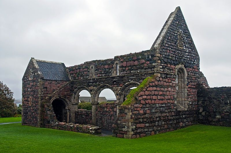 Nunnery, Iona, Scotland,  In 1200 AD, Raghnall, son of Somerled, virtual King of the Isles, brought in the Benedictine Order and built the great abbey. He also established St Ronan's Nunnery, named after one of Iona's monks, which accommodated up to 400 Augustinian nuns - the ruins of this building still stand within the village. Raghnall's sister, Bethag, was instated as St Ronan's first prioress.