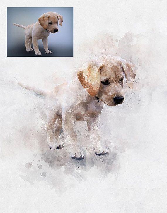 Custom Dog Painting Watercolor Dog Portrait Memorial Pet Drawing