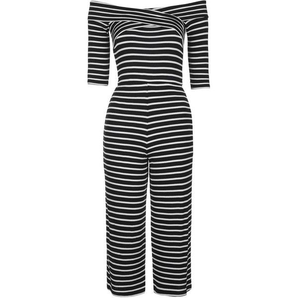 2135f503a96b TopShop Stripe Bardot Jumpsuit ( 45) ❤ liked on Polyvore featuring jumpsuits