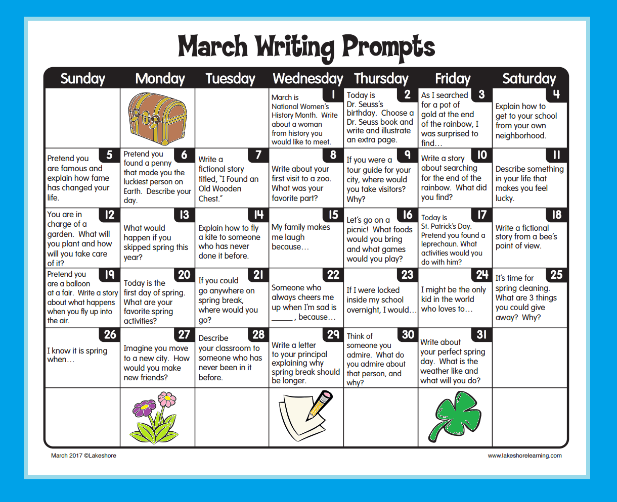 March Writing Prompts From Lakeshore Learning
