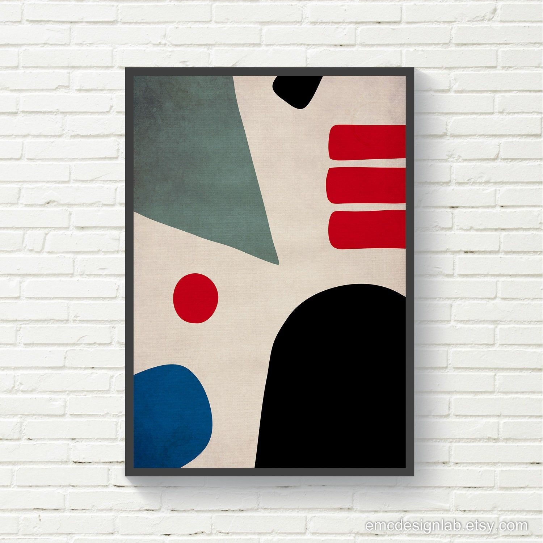 mid century modern abstract poster red black decor geometric art abstract art Geometric Print wall art minimalist art Red Triangle