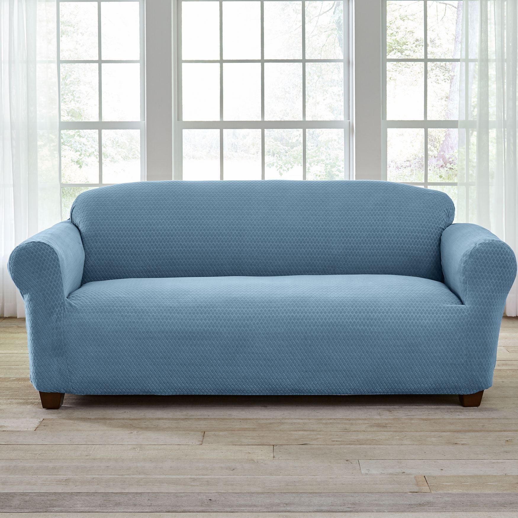 Bh Studio Stretch Diamond Sofa Slipcover Light Blue Slipcovered Sofa