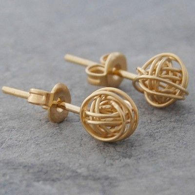 Tiny Nest Gold Stud Earrings Dainty And Delicate These Handmade Contemporary Are Fashioned From 18 Carat Plated