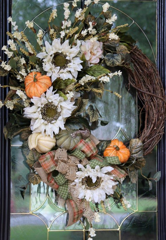 Fall wreaths for Front Door with Sunflower, Pumpkin wreath, Fall Door Wreath, Rustic Farmhouse Decor #doubledoorwreaths