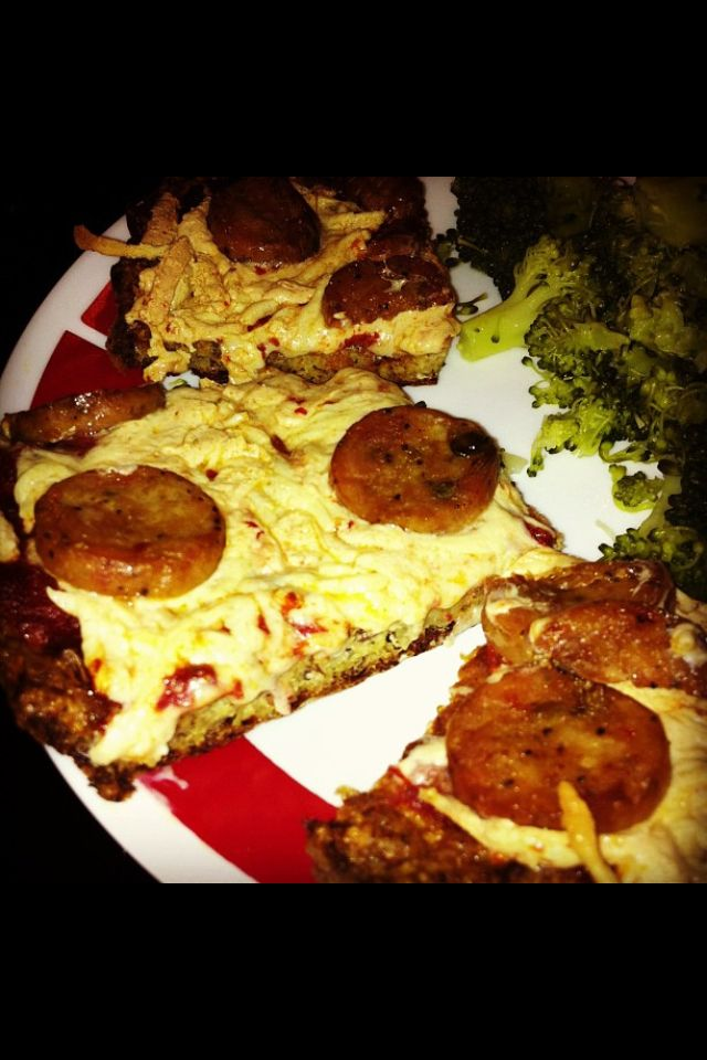 Paleo cauliflower and almond crusted sausage pizza...
