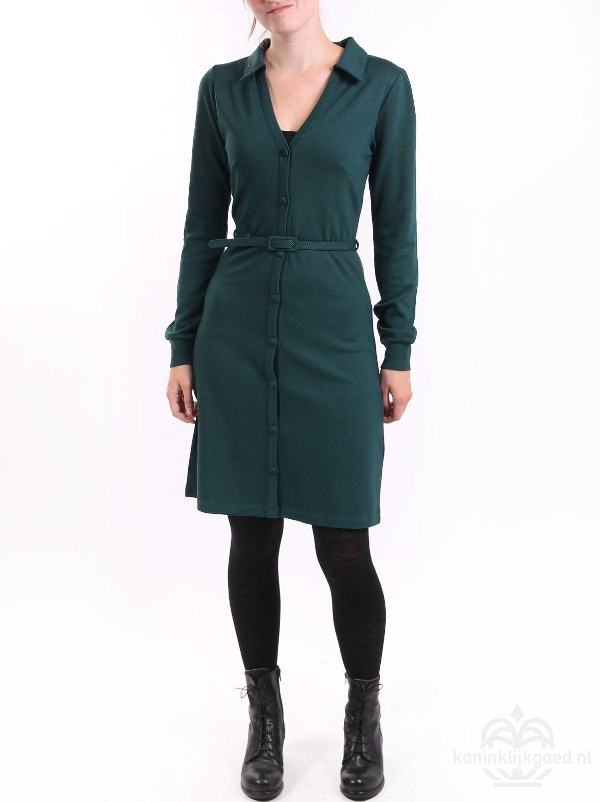 01f1d1f3f79a King Louie Button dress Milano uni pine green | Cl Dresses | Dresses ...