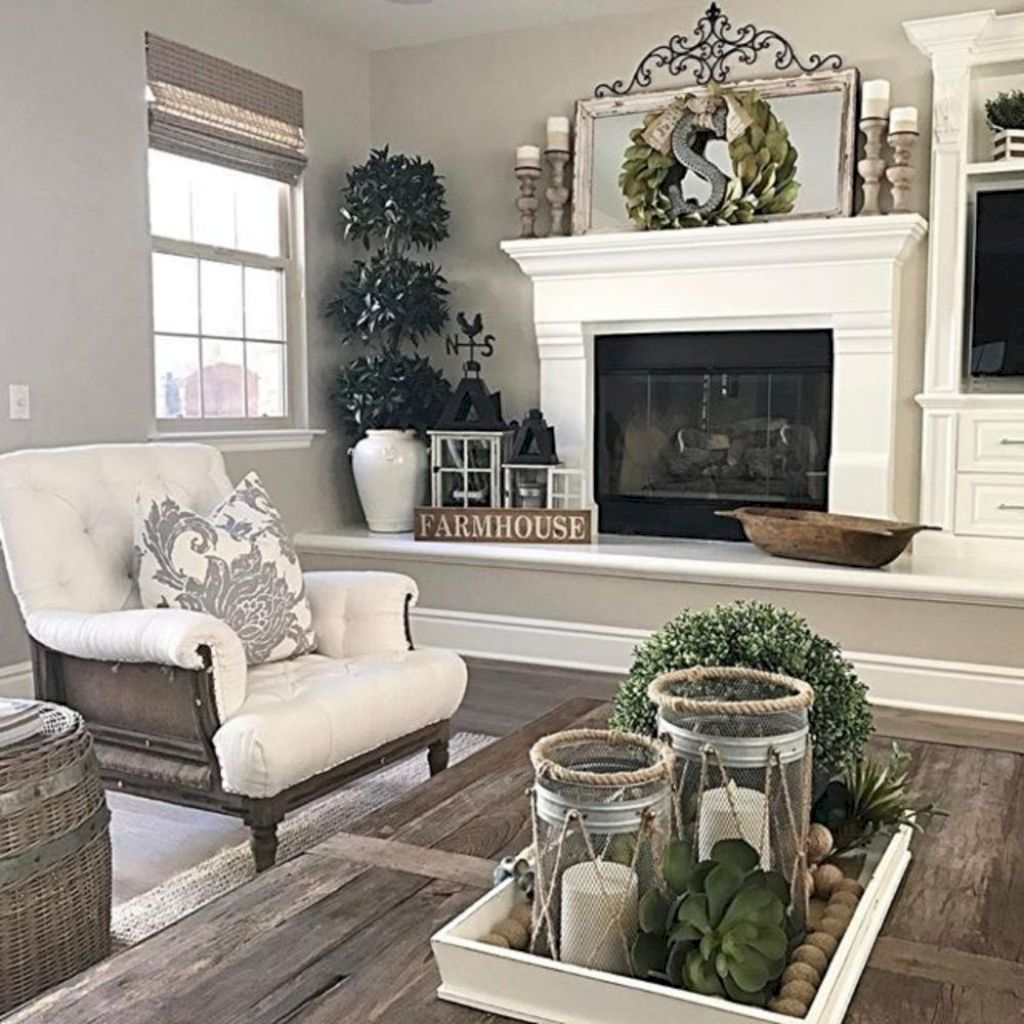 Amazing 80 Rustic Farmhouse Living Room Decor Ideas