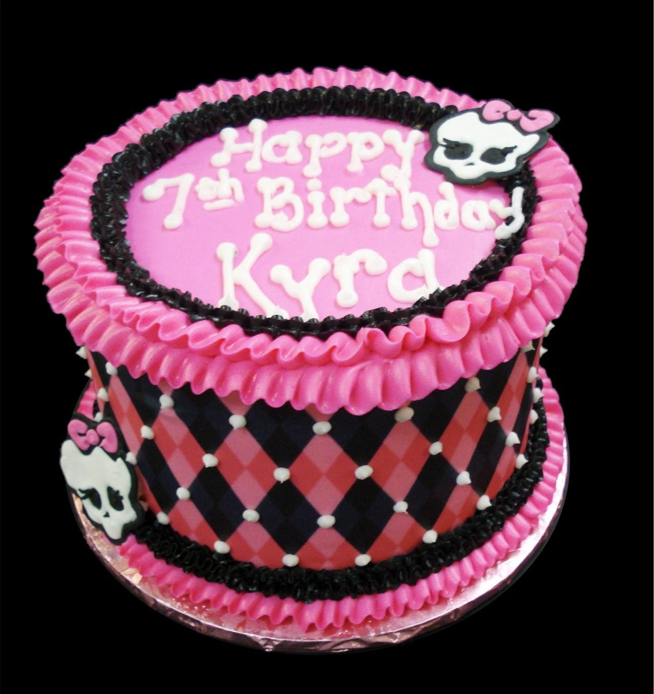 Girl Skull 7th Birthday Cake Pink buttercream iced round decorated