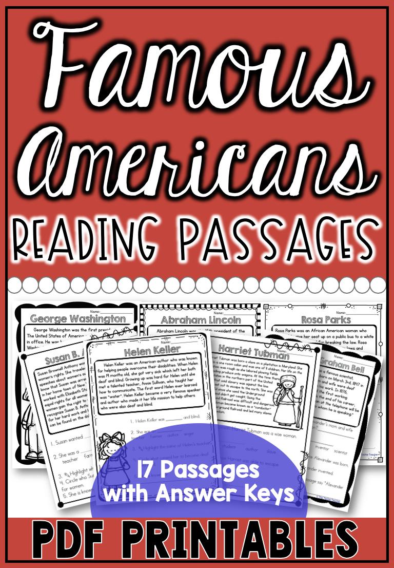 Famous Americans Reading Passages 17 Famous Americans Covered Reading Passages Famous Americans Social Studies Activities [ 1106 x 768 Pixel ]