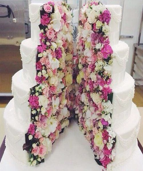 Floral Inside Out Wedding Cake Design Wedding Cake