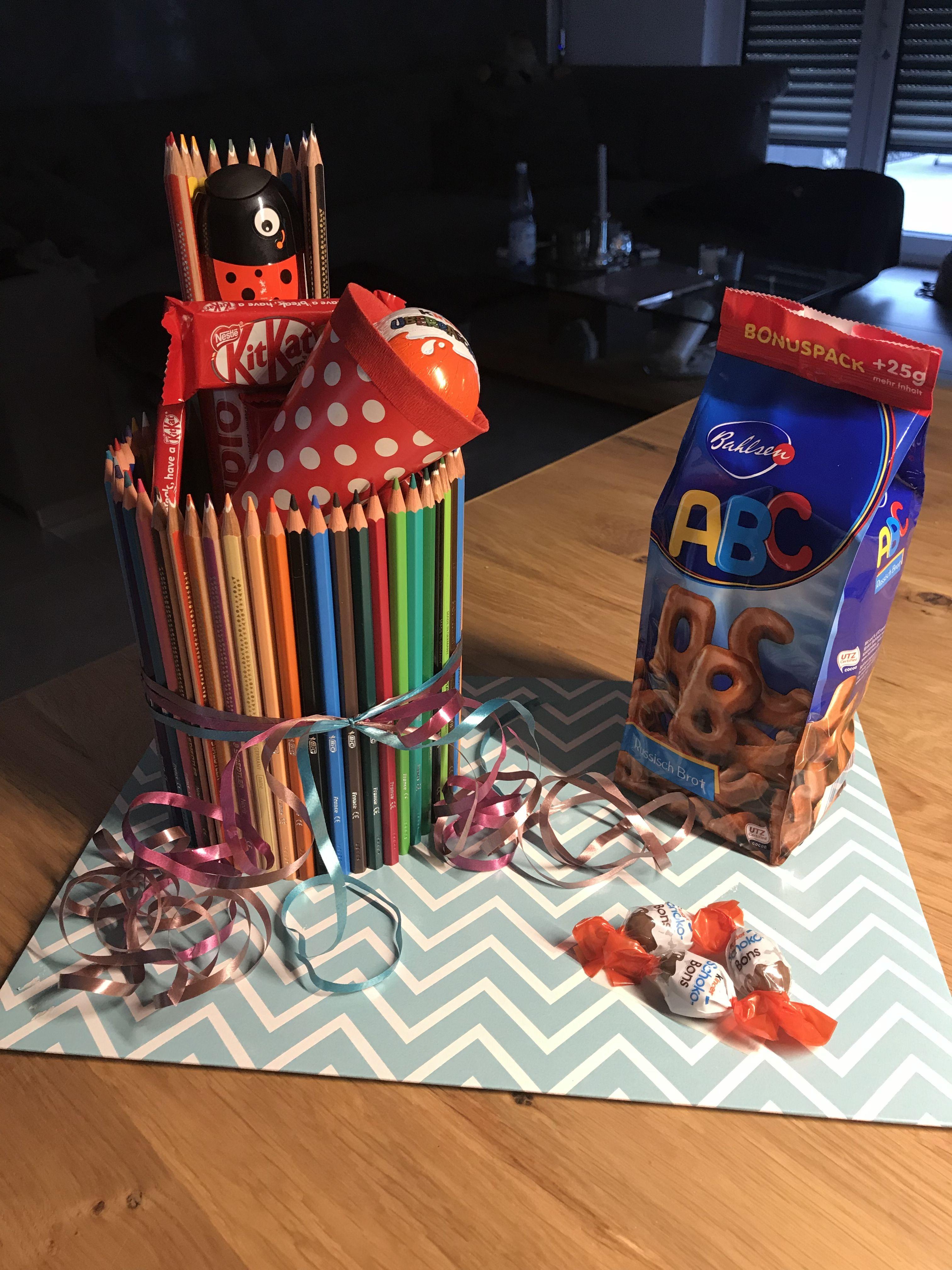 Geschenk Einschulung - Buntstift-Torte   Geschenk