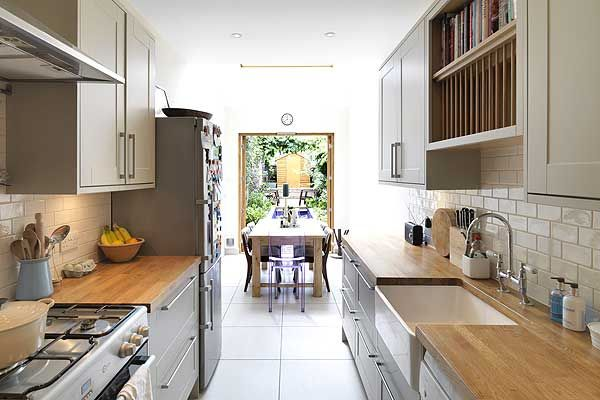 Clapham 39 s 90 inch wide narrow house transformed into a for Narrow kitchen ideas