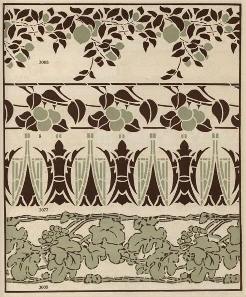 Ideas for stencil designs. These are from the Arts & Crafts period. Stencils and stencil materials (c. 1910)