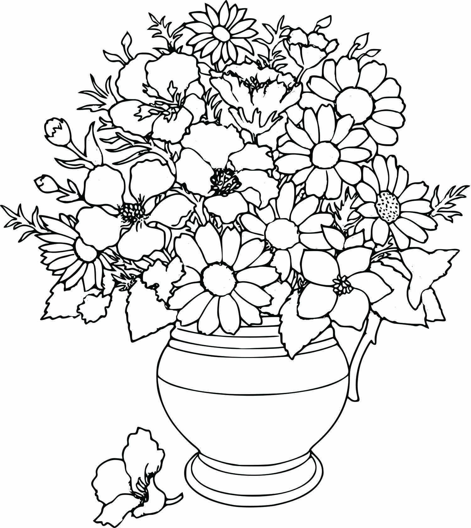 flower detailed coloring pages - photo#7