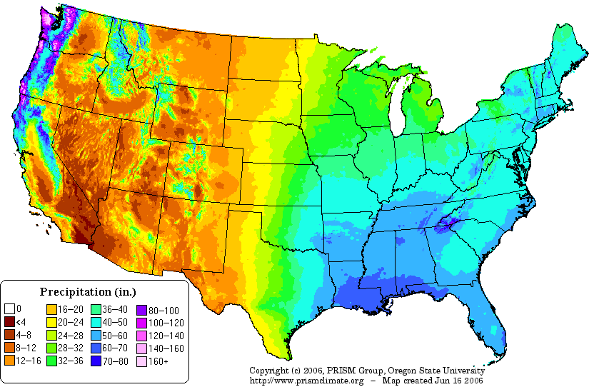 Rain Fall Us Maps United States Annual Average Precipitation Map - Weather map for western us