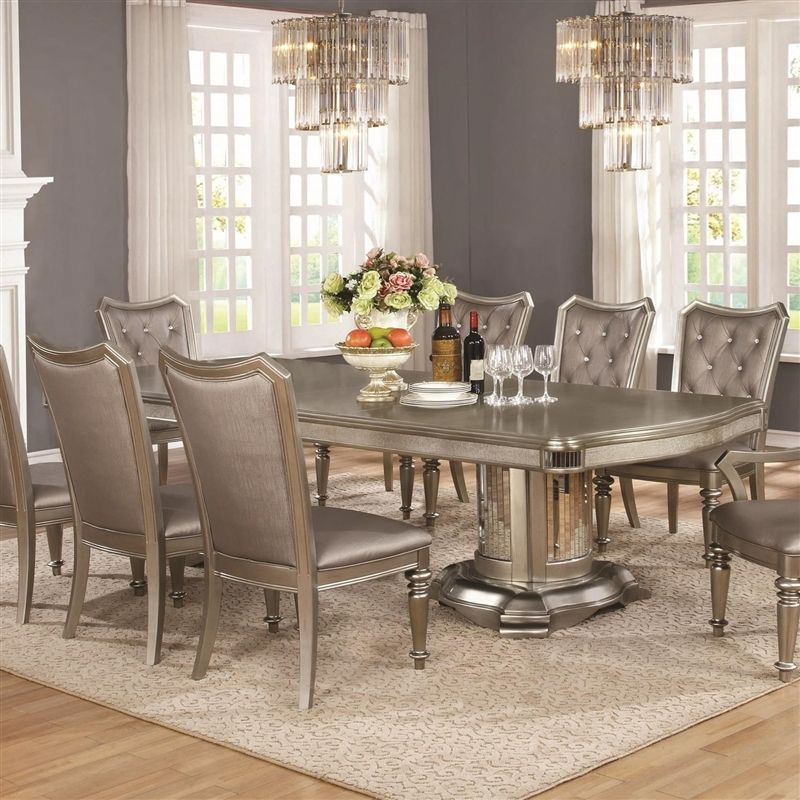 Bling Game Double Pedestal Table 7 Piece Dining Set In Metallic Platinum Finish By Coaster 1073 Luxury Dining Room Dining Room Table Unique Dining Room Table