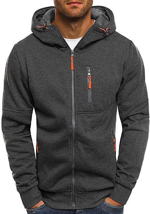 b8be795d3 Elogoog Hoodies for Men Fleece Full Zip Autumn Outwear Long Sleeve Cardigan  Jackets Hooded Sports Sweatshirts (M, Dark Gray)