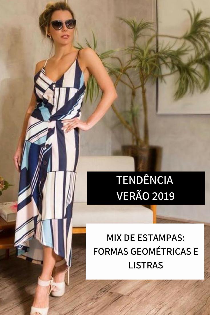 d2161ca28 Tendência Verão 2019 Mix de estampas: formas geométricas e listras  #verao2019 #tendeciaverao2019 #
