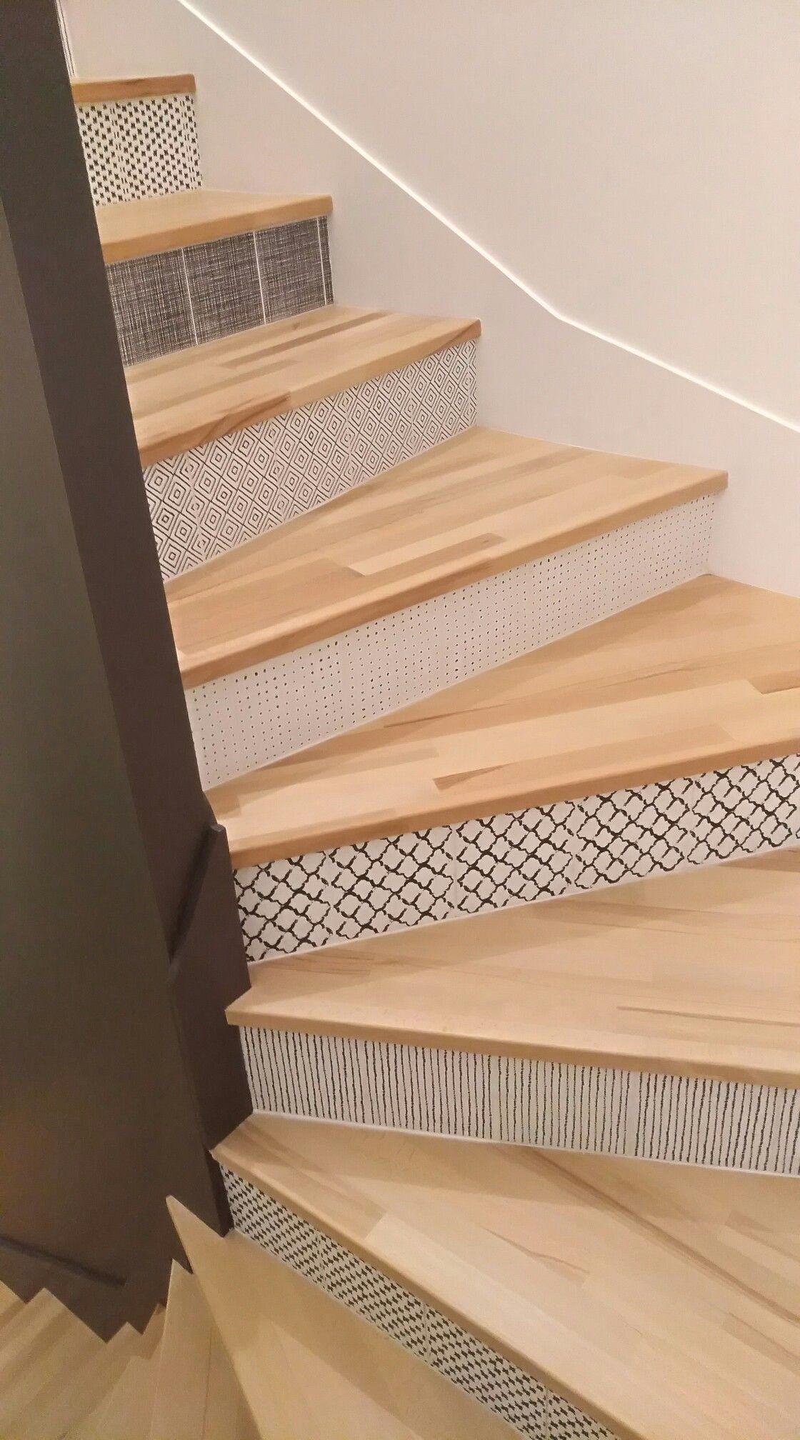 Marche En Bois Et Contremarche Carreau De Ciment Deco Chambre Sous Pente Escalier Relooking Amenagement Escalier