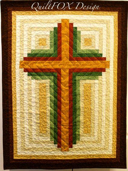 Cross Quilt Pattern - Log Cabin Christian Cross - multiple sizes ...