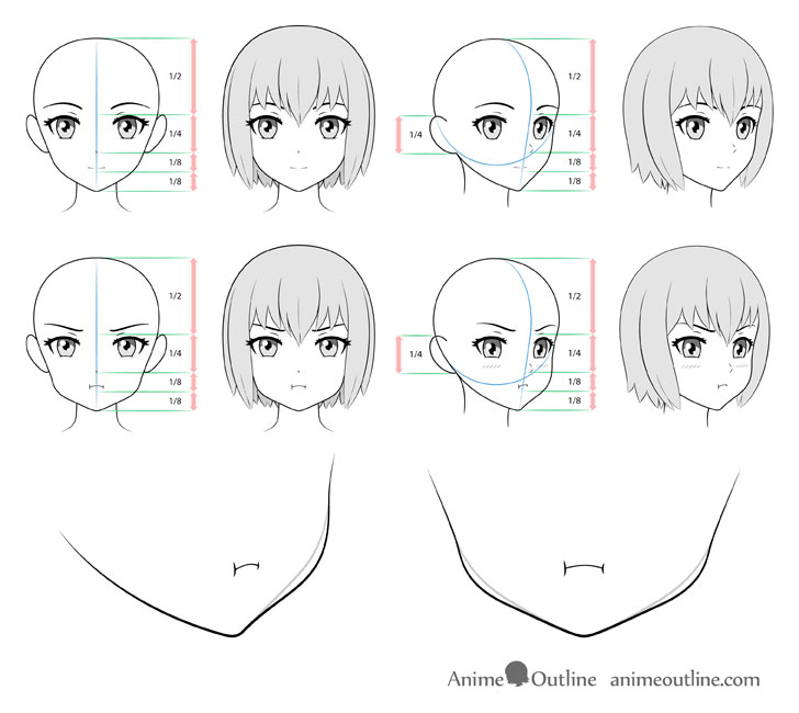 Female Anime Face Reference Google Search Anime Drawings Tutorials Drawing Heads Manga Tutorial