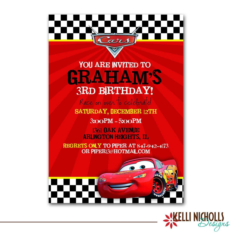 Cars Birthday Party Invitation via Etsy