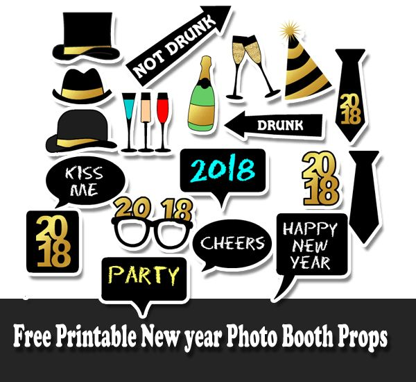 Free Printable New Year 2018 Photo Booth Props New Years