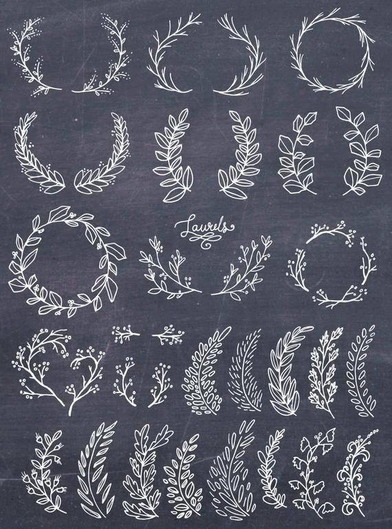Photo of Laurel Wreath Clipart, Wreath Clip Art, Laurel Wreath PNG, Botanical Clipart, Handcrafted Cl …
