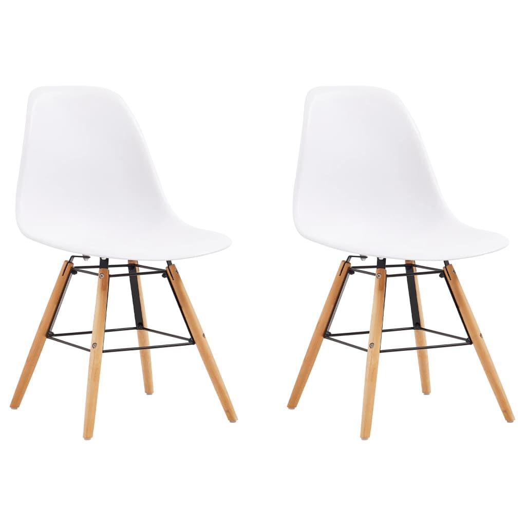 ZNTS Dining Chairs 2 pcs White Plastic 248253