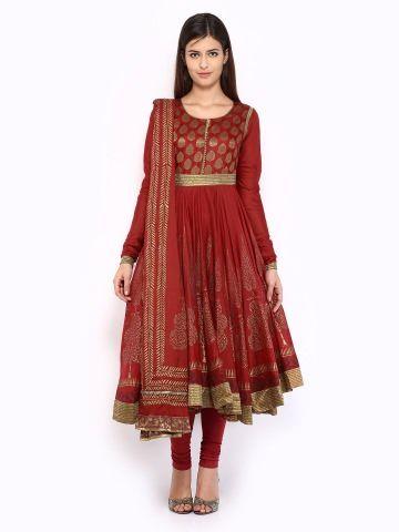 2c4729e078 BIBA Women Red Printed Anarkali Churidar Kurta with Dupatta | Indian ...