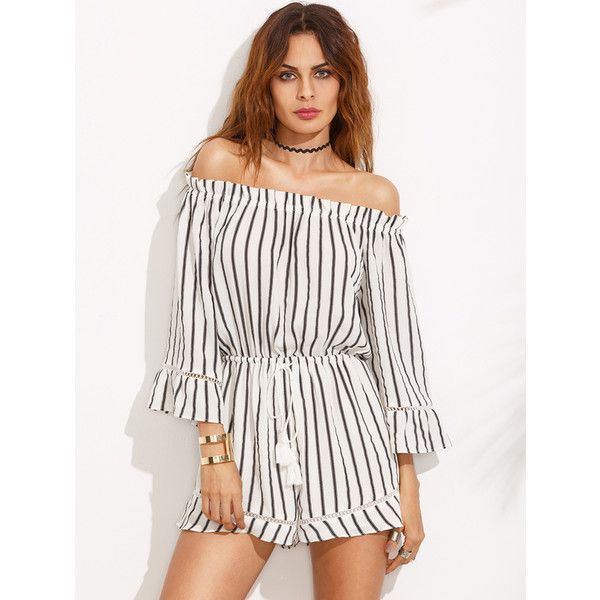 Online shopping for Black and White Striped Off The Shoulder Drawstring  Jumpsuit from a great selection of women's fashion clothing & more at  MakeMeChic.
