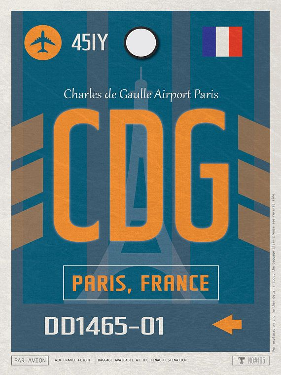 Paris Airport Tag France Travel Poster Cdg Airport Code Charles De Gaulle Framed Poster Cdg Luggage Tag Paris Souvenir France Souvenir Luggage Tags Vintage Paris Posters Art Prints