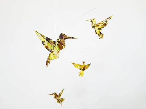 Photo of Mobile origami, interior decoration, decoration accessory, gift for her, origami hummingbird, golden