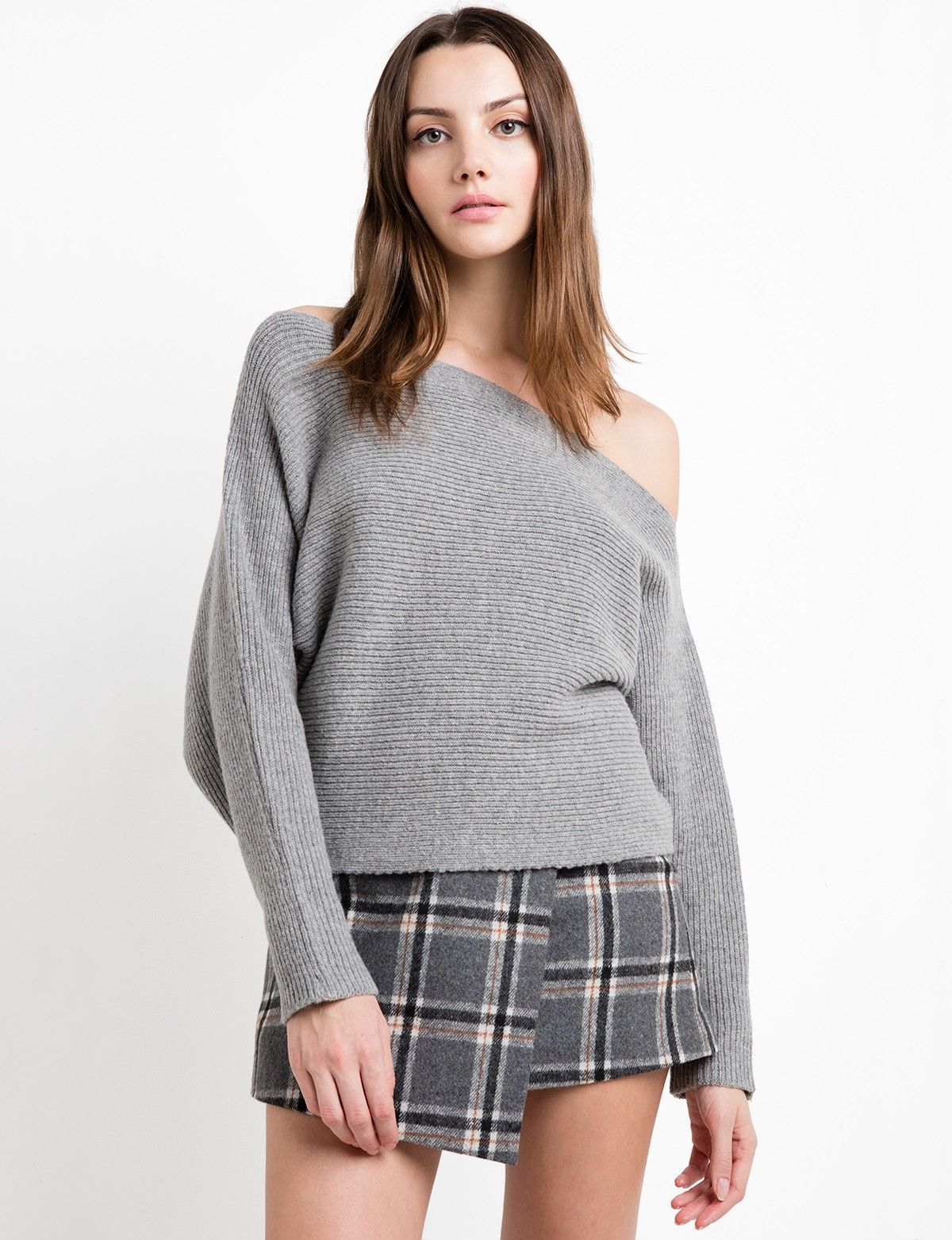 Crop One Shoulder Grey Sweater by J.O.A | New Arrivals | Pinterest ...