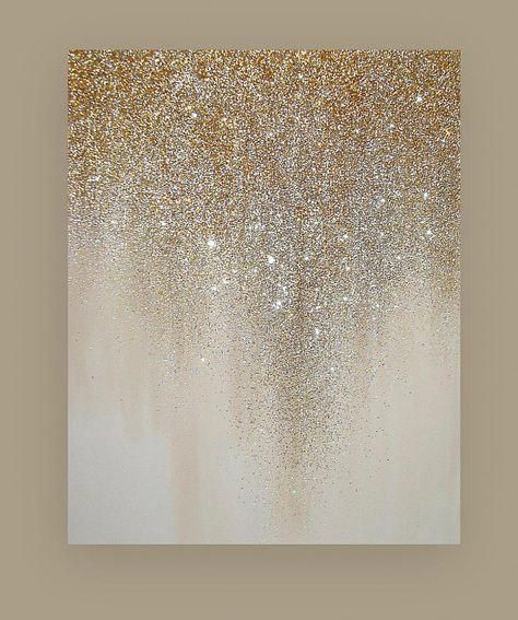 Art, Painting, Navy, Metallic Silver, Glitter Art