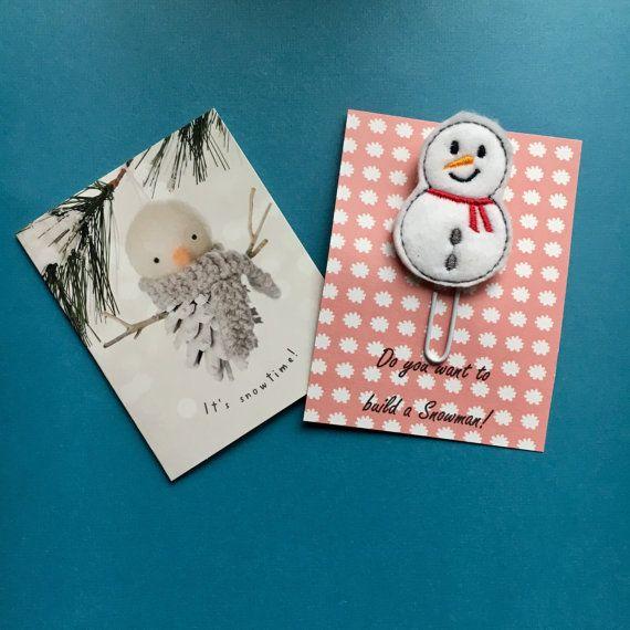 CHRISTMAS SALE!!! Felt Snowman Paper Clip /Planner Clip /Planner Accessory /Paperclip  / Felt Paper Clip / Feltie Paper Clip / Felt Applique