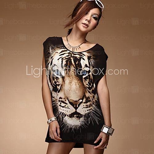Mujeres tigre sin mangas de cuello redondo Imprimir la camiseta - USD $6.99