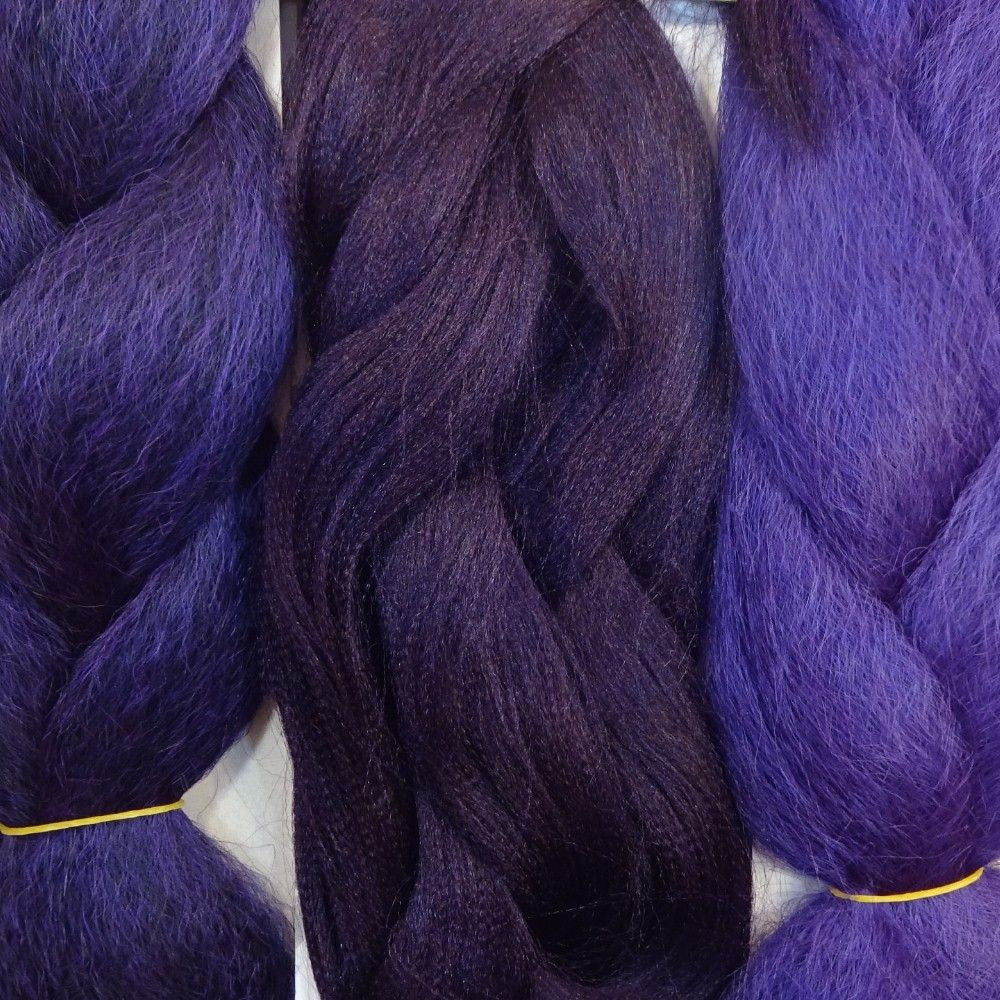 Kanekalon Color Comparison From Left To Right Black Orchid Dark Plum Deep Purple