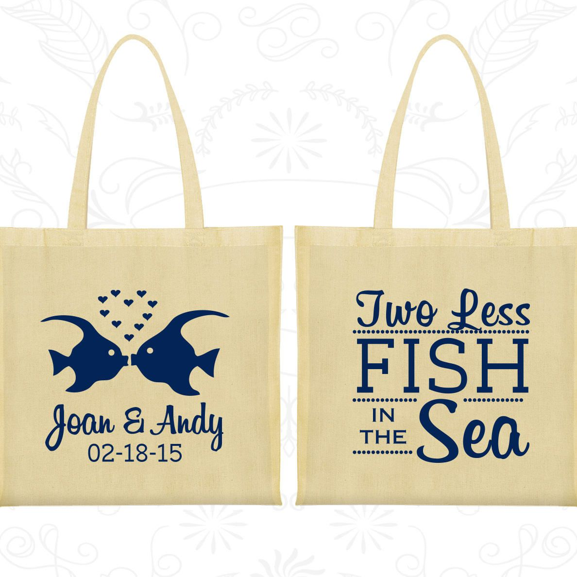 Canvas Bags Two Fishes Personalized