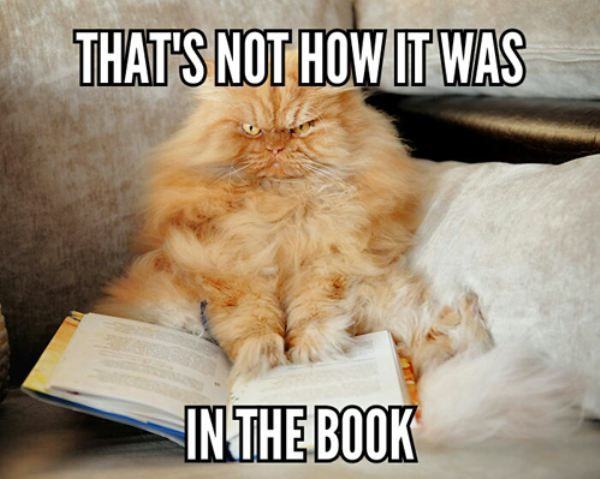 "Image result for cat meme ""not how it was in the book"""