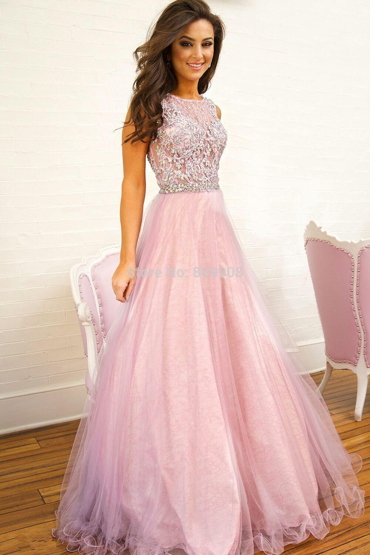 Pink elegant a line off shoulder long sleeves prom dresses