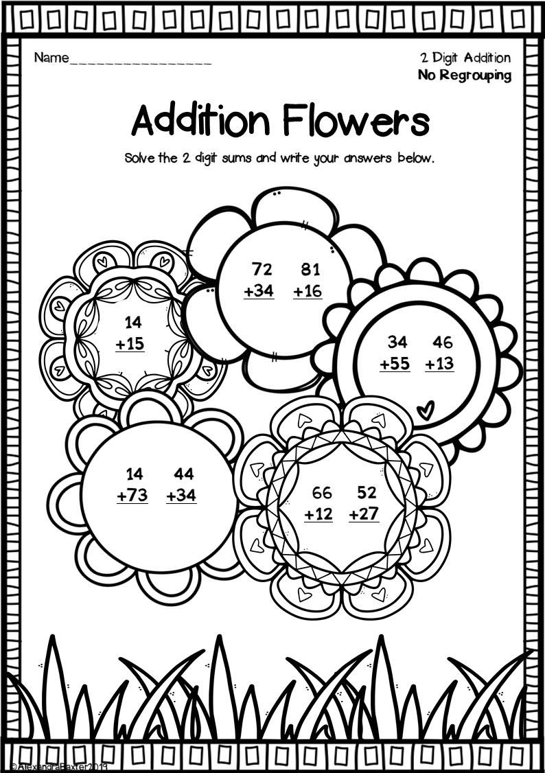 Two Digit Addition Worksheets No Regrouping Fun Math