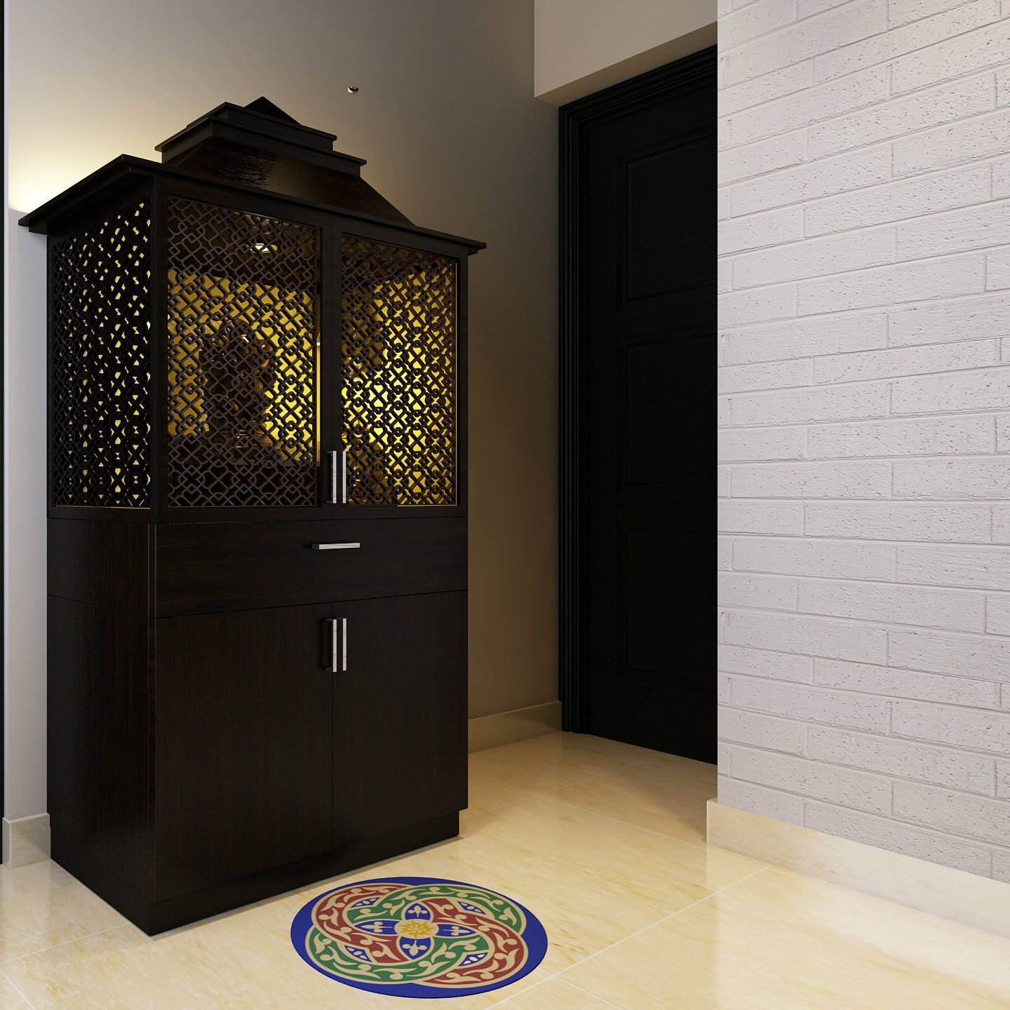 Small On Space Go For This Beautiful Pooja Cabinet