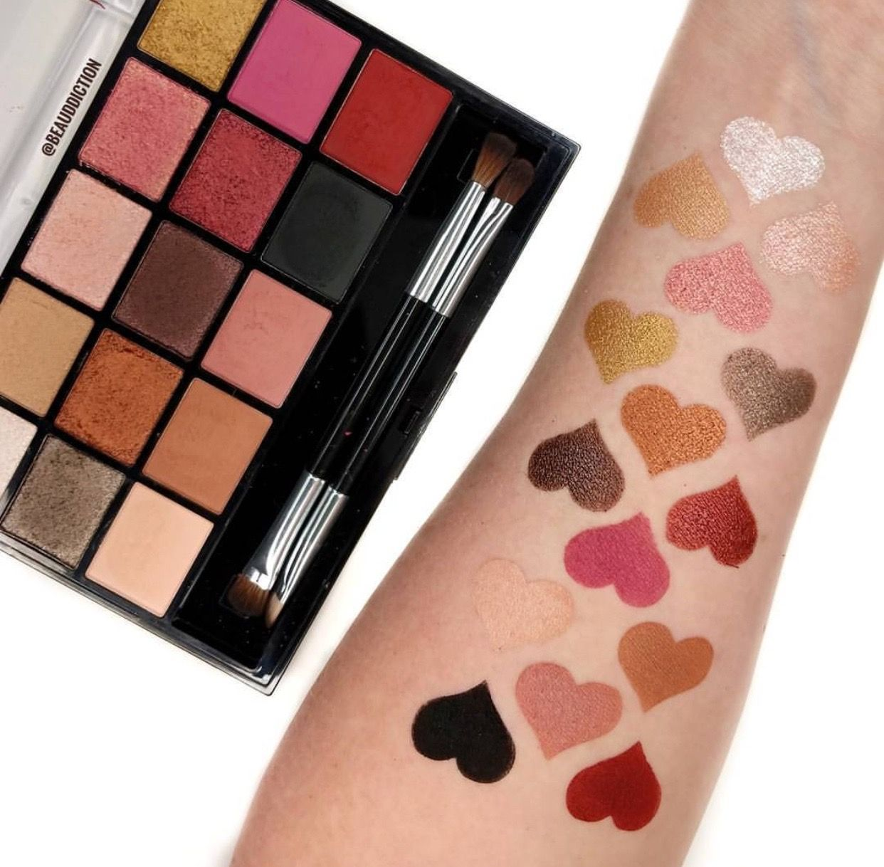 Arm Finger Swatches of the Makeup Revolution Eyeshadow
