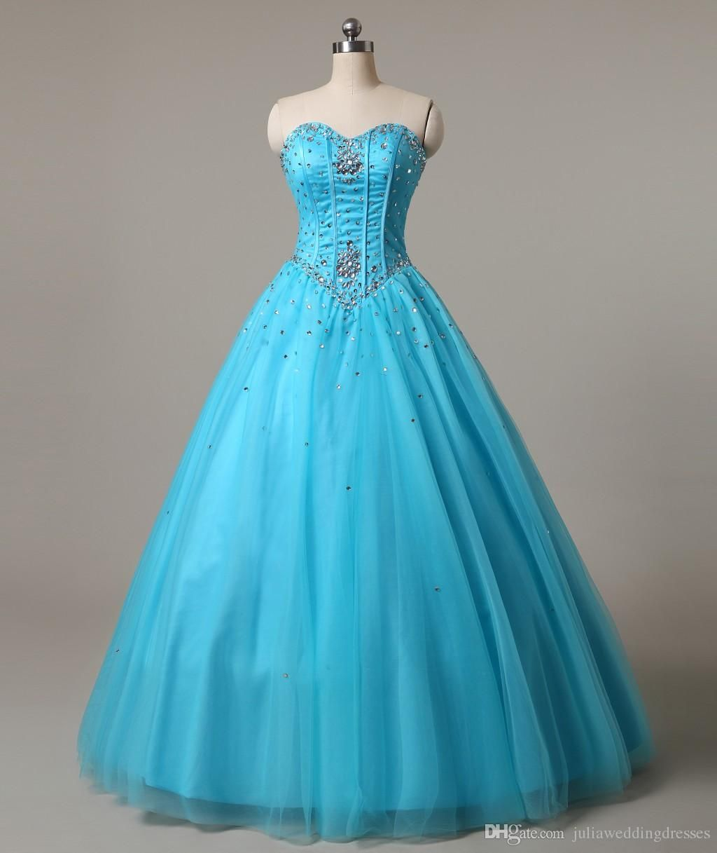 New Sweetheart Blue Quinceanera Dresses Ball Gown Tulle Beaded Crystal Sweet 16…