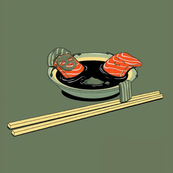 Смешные картинки с суши, магнолией